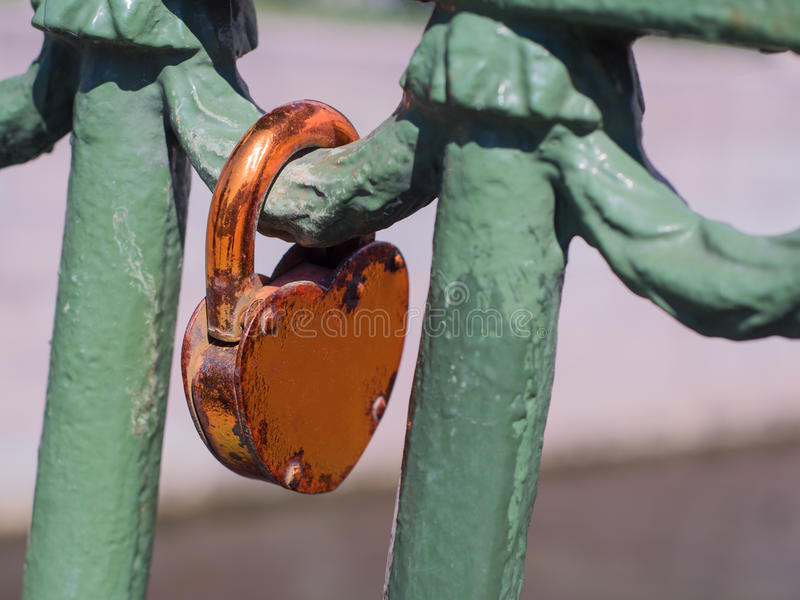 Love lock that has been there for a long time. Love lock that has been there for a long time royalty free stock photos