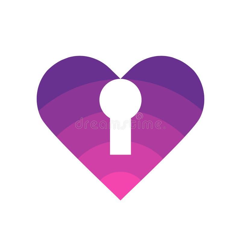 Love lock logo template, heart with key hole symbol, vector icon design illustration stock illustration