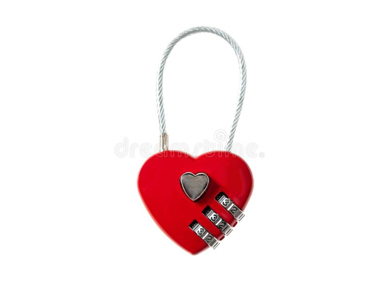 Love locked. Red heart padlock cut out and isolated on white background stock photography