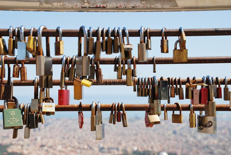 Love locks, Barcelona stock images