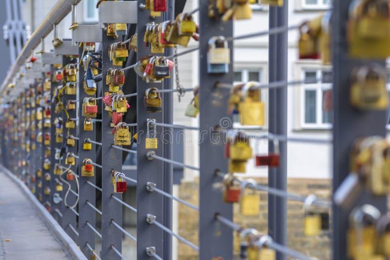 Love locks bridge stock photos