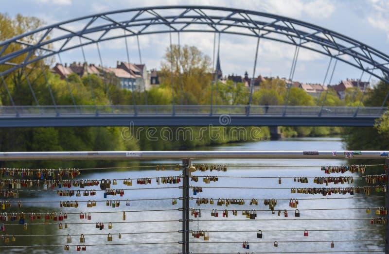 Love locks bridge stock photography