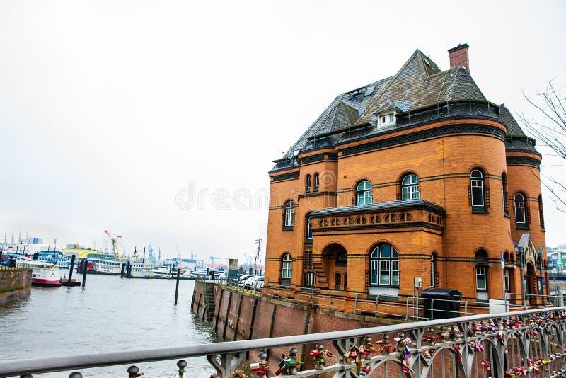 Love locks at the bridge next to the police station 2 at the Hamburg harbor stock photography