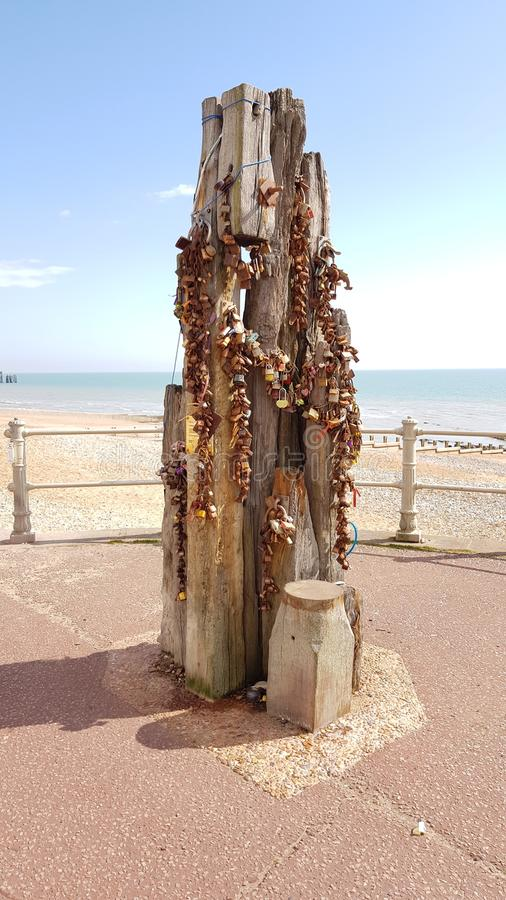Love locks on Hastings Promenade royalty free stock photos