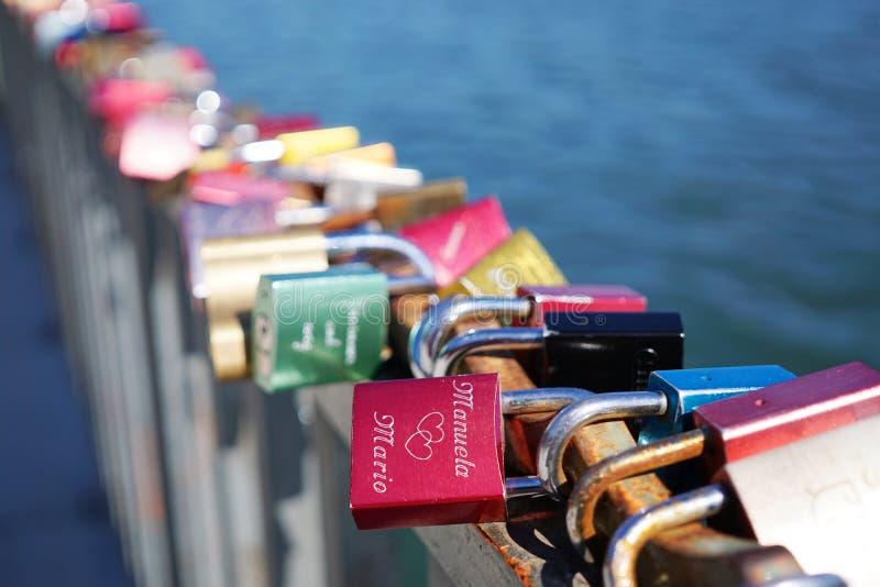 Love locks or padlocks royalty free stock photos
