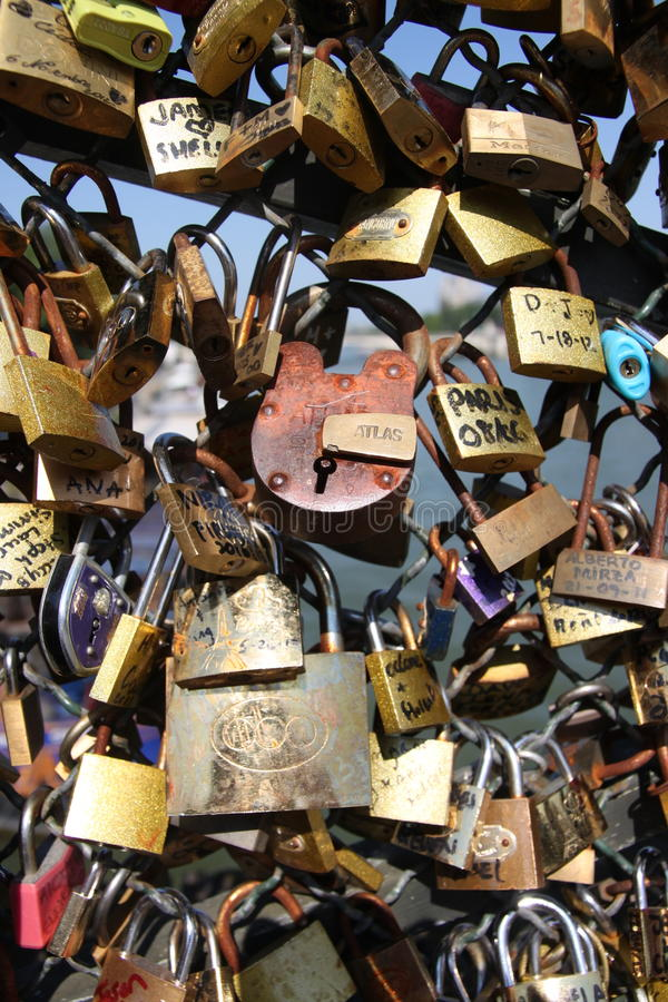 `love locks` on the Pont des Arts. On the River Seine in Paris stock image