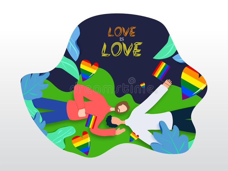 Love is Love concept for LGBTQ community with gay couple laying down and holding rainbow color freedom flag. Nature Background stock illustration