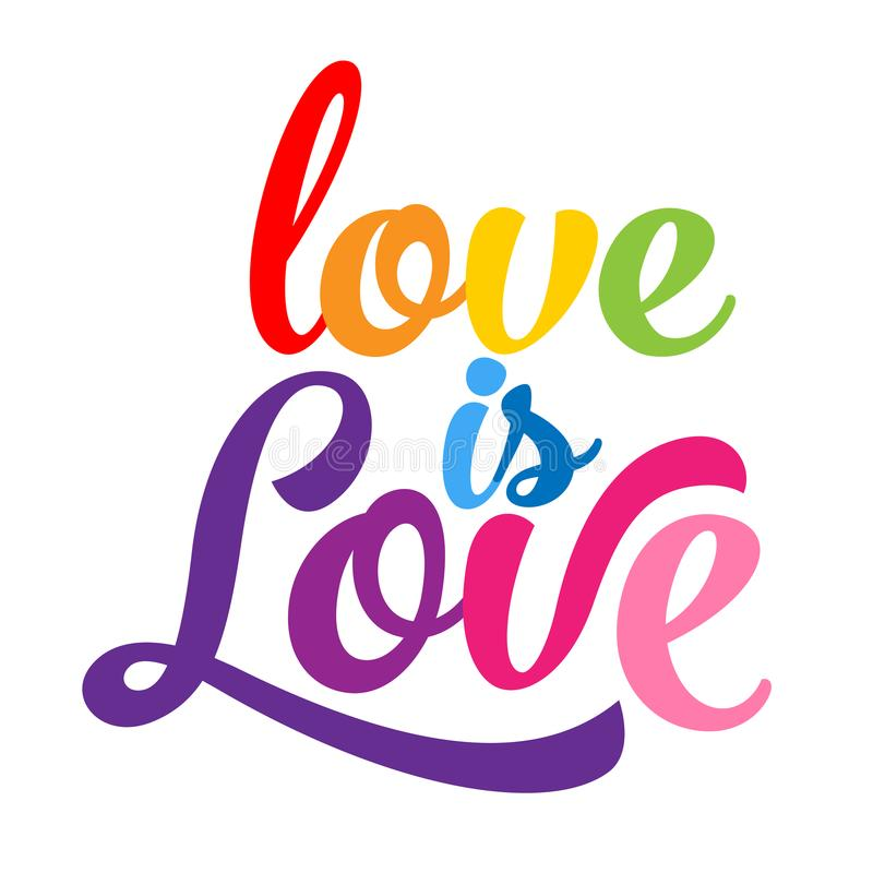 Love is love - LGBT pride slogan royalty free illustration