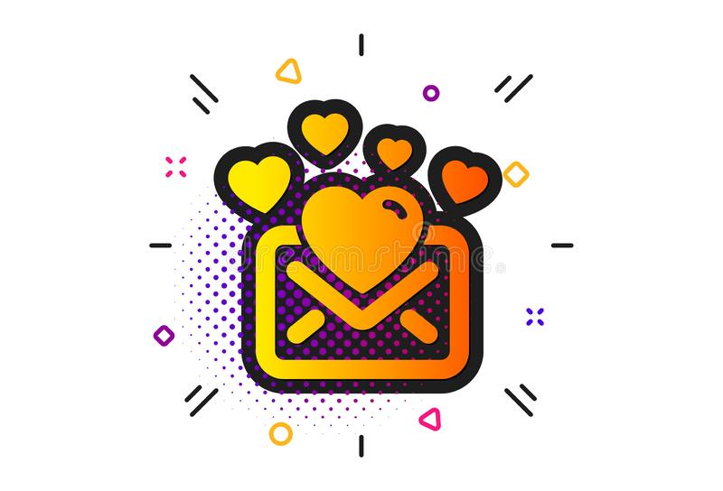 Love Mail icon. Valentines Message correspondence sign. Vector. Valentines Message correspondence sign. Halftone circles pattern. Love Mail icon. E-mail symbol stock illustration