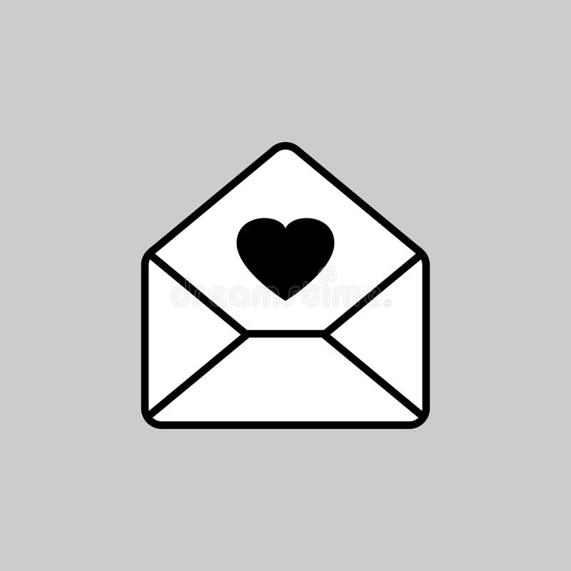 Love mail icon. Vector art royalty free illustration