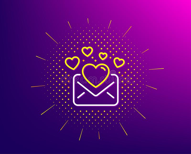 Love Mail line icon. Valentines Message correspondence sign. Vector. Love Mail line icon. Halftone pattern. Valentines Message correspondence sign. E-mail symbol vector illustration