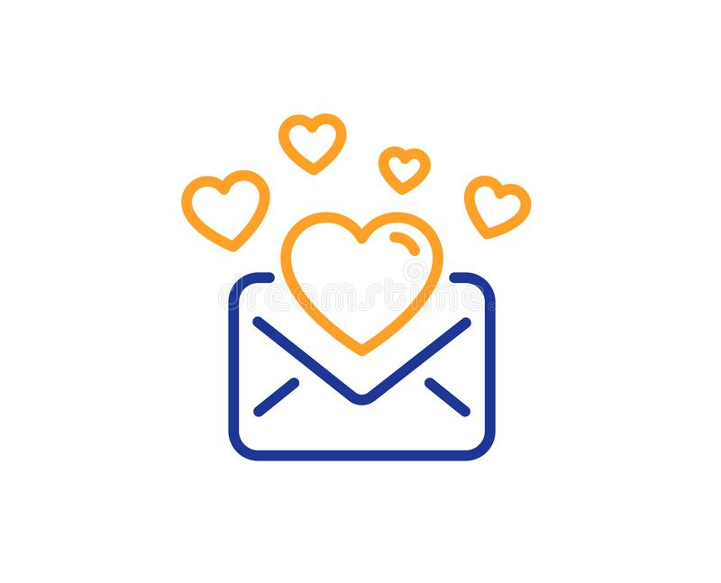 Love Mail line icon. Valentines Message correspondence sign. Vector. Love Mail line icon. Valentines Message correspondence sign. E-mail symbol. Colorful outline stock illustration