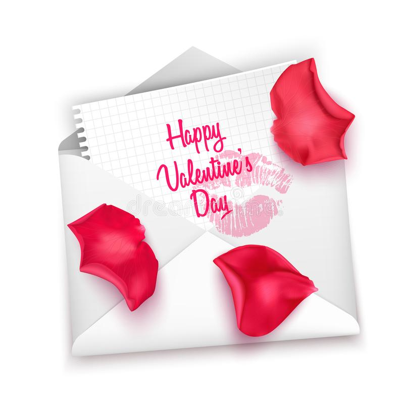 Love mail with Valentine card, Happy valentine`s day written on an envelope, Valentines day letter. Realistic vector illustration royalty free illustration