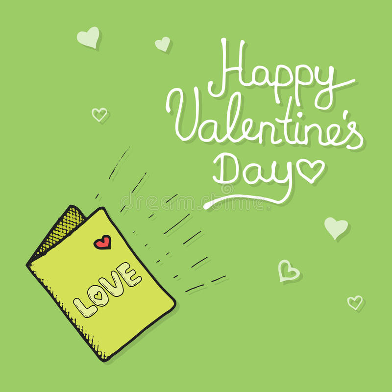 Love mail with Valentine card royalty free illustration