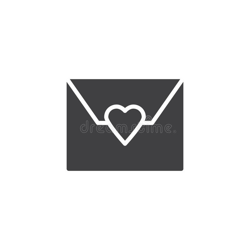 Love mail vector icon. Filled flat sign for mobile concept and web design. Envelope with heart simple solid icon. Symbol, logo illustration. Pixel perfect royalty free illustration