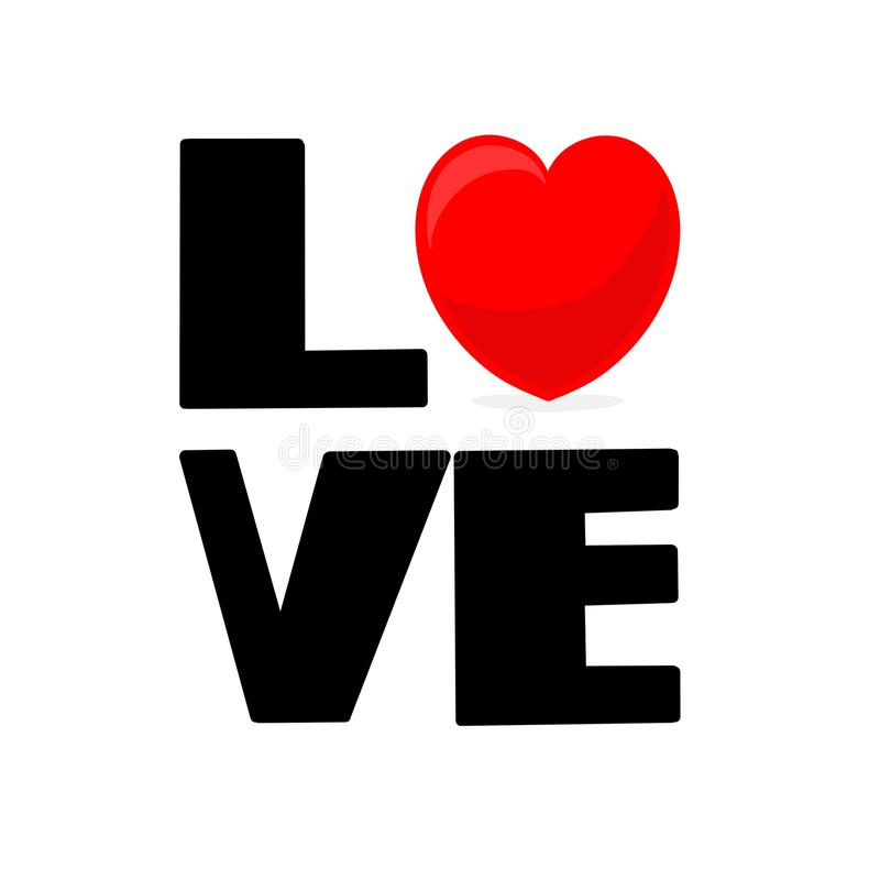 Love massive text. With red heart, Calligraphic love lettering royalty free illustration