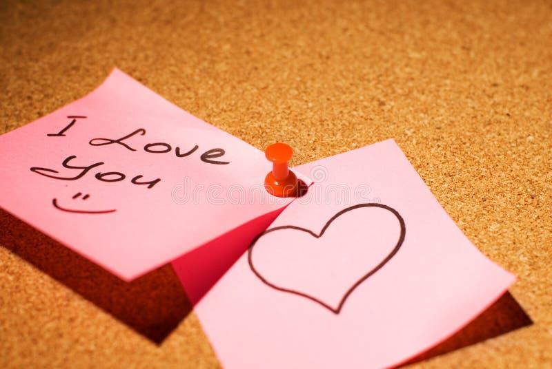 Love message. On a corkboard stock photos