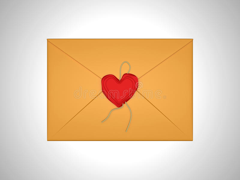 Love message - letter sealed with red sealing wax