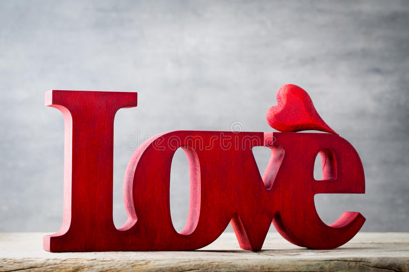 love message of love with red wooden letters stock photo image