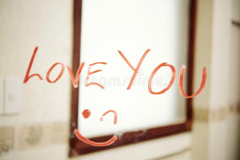 Love message for lover in bathroom stock photos