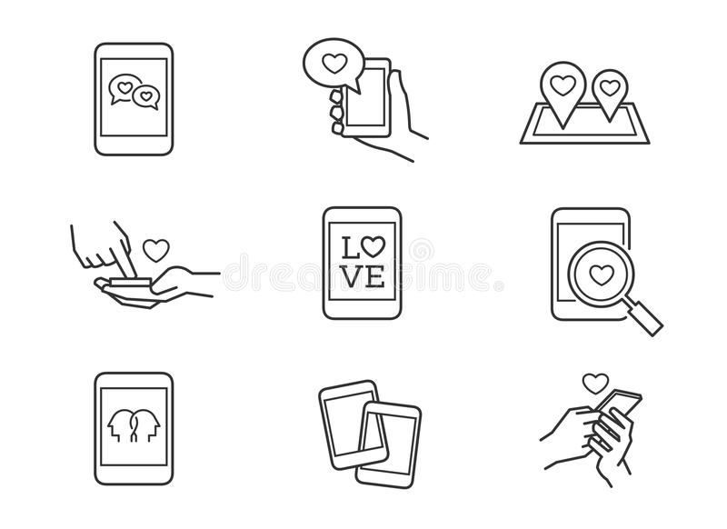 Love message, online dating romance icons. Love message, online dating romance line icons royalty free illustration
