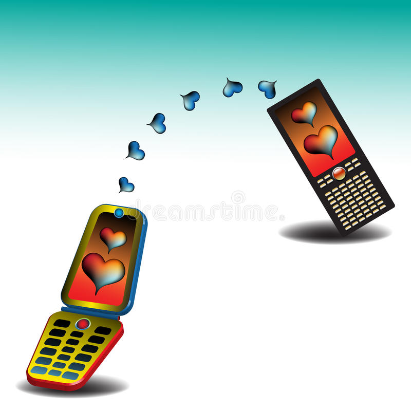 Love messages. Abstract colorful background with two mobile phones sending love messages to each other vector illustration