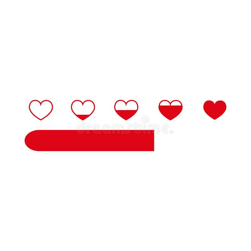 Love meter in speedometer design.illustration with heart symbols and pointer. stock illustration