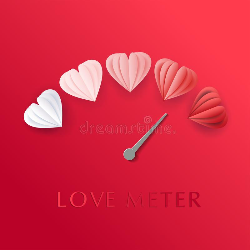 Love meter in speedometer design with paper cut style hearts. Vector illustration with heart symbols and pointer. vector illustration
