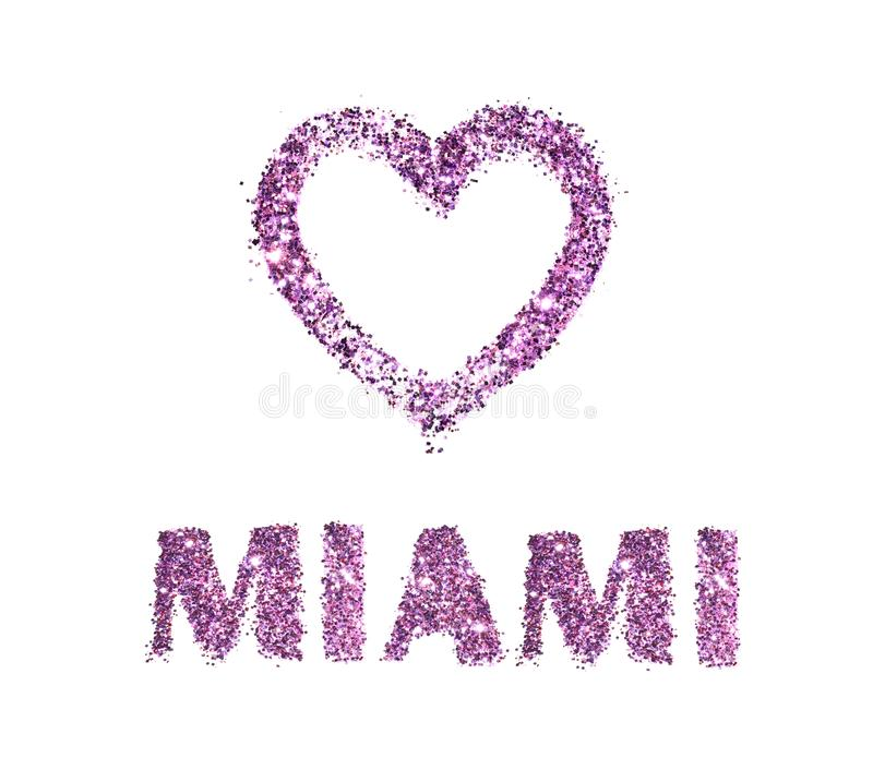 Love Miami, heart and city name of purple glitter isolated on white background.  stock image