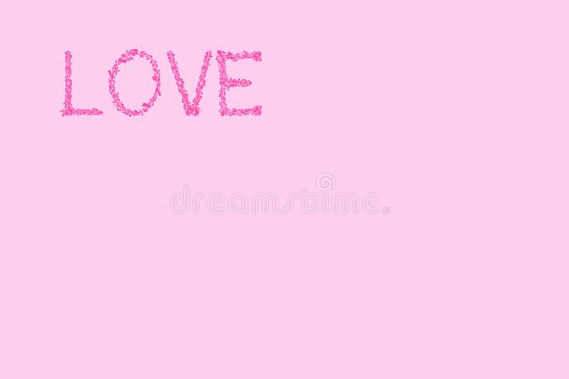 Love minimalistic pink background Valentines day stock image