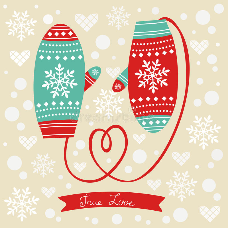 Download Love Mittens With Rope In A Form Of Heart Stock Vector - Image: 37780108