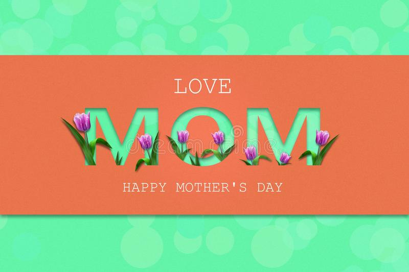 Love Mom, cutting inscription on a coral background. Beautiful tulips. Happy Mother`s Day, greeting card. Festive banner royalty free illustration
