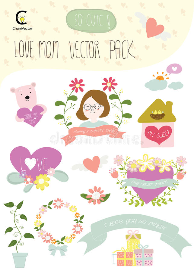 Love mom happy mothers day vector pack include element for deco download love mom happy mothers day vector pack include element for deco stock vector illustration stopboris Images
