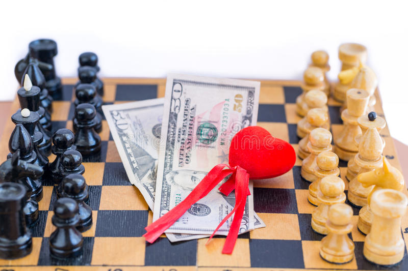 Love, money, power triangle with chess opponents. On white background royalty free stock image