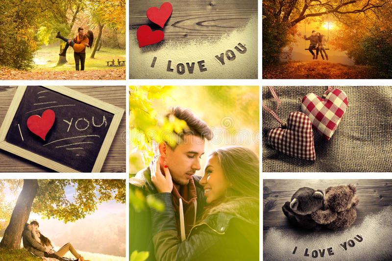 Love Montage. Cuoples,love autumn nature,happiness embrace in one picture royalty free stock images