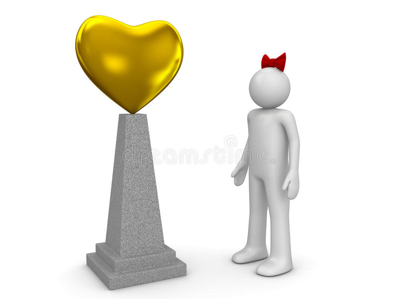 Love Monument And Woman Royalty Free Stock Image