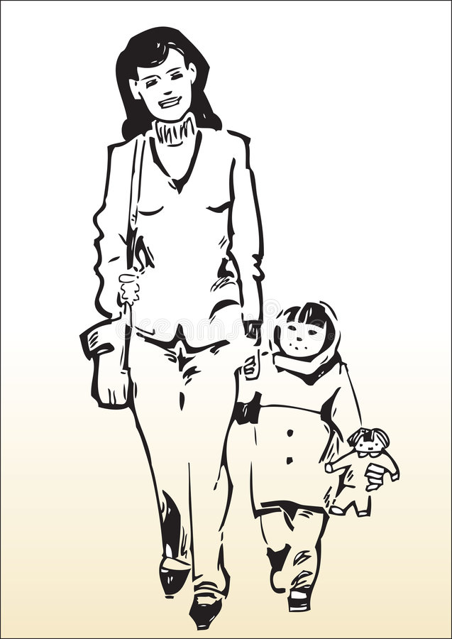 Download Love of a mother stock vector. Image of aged, walking - 8645234