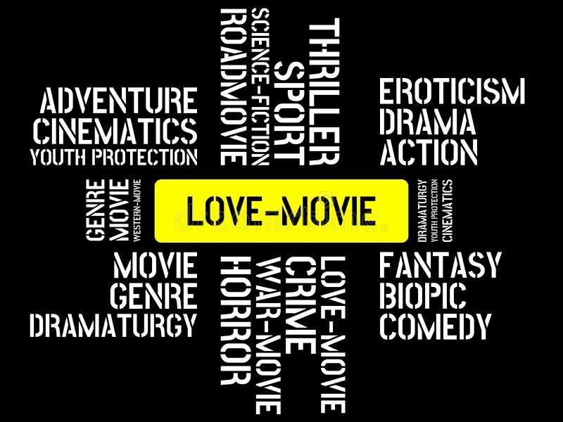 LOVE-MOVIE - wizerunek z słowami kojarzącymi z tematu filmem, słowo, wizerunek, ilustracja ilustracji