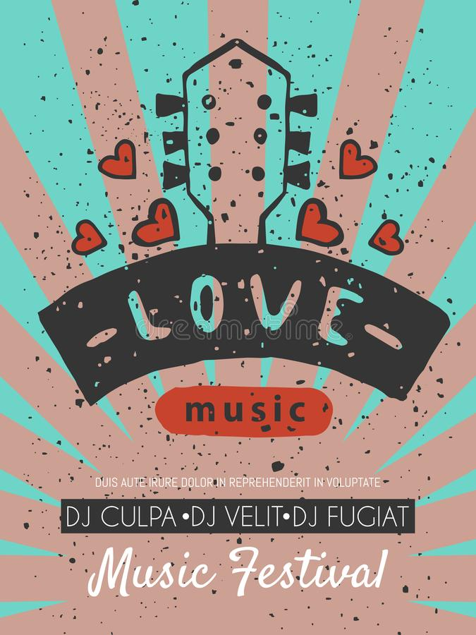 Love music festival poster vector illustration. Let your heart sing. Music make everything better. Electric guitars with royalty free illustration