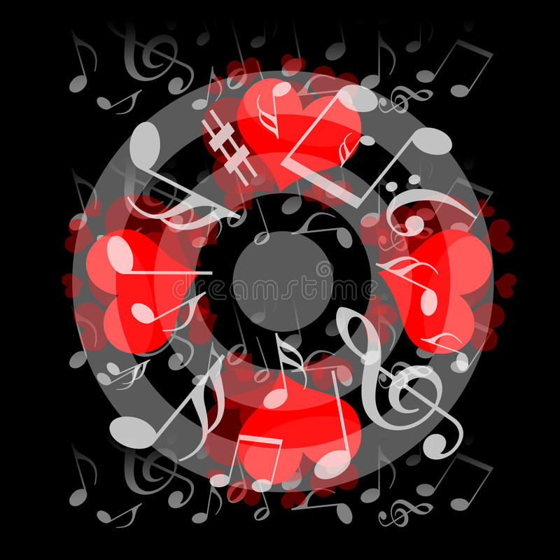 Love and Music. Love hearts and musical notes on black background vector illustration