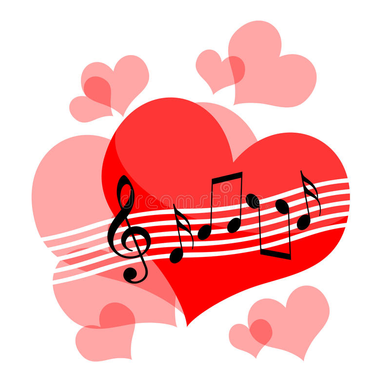 Love music. Love hearts and musical notes romantic composition vector illustration