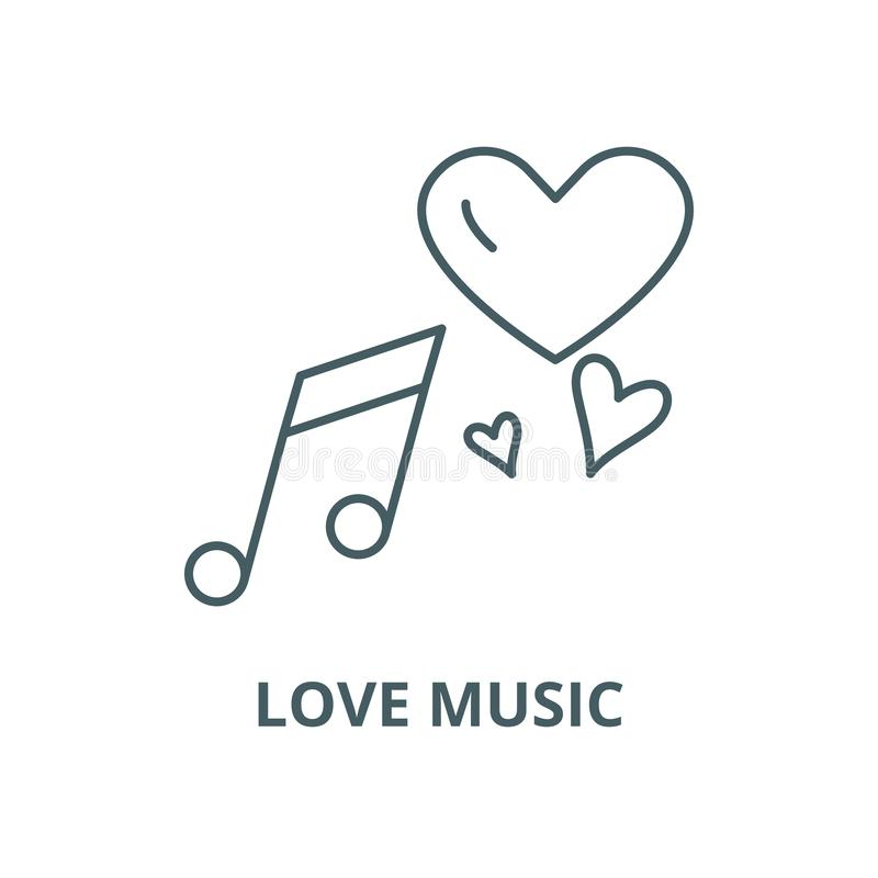 Love music vector line icon, linear concept, outline sign, symbol royalty free illustration