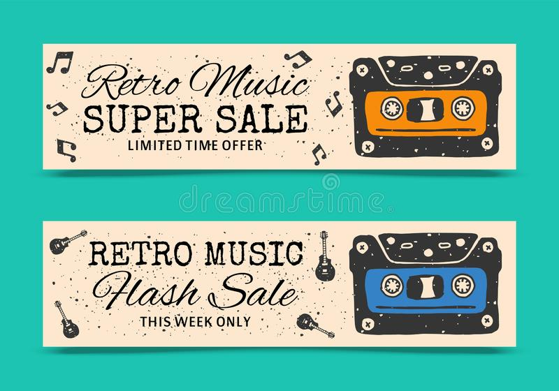 Love music vertical banners vector illustration. Retro music super sale. Limited time offer. Hash sale this week only vector illustration
