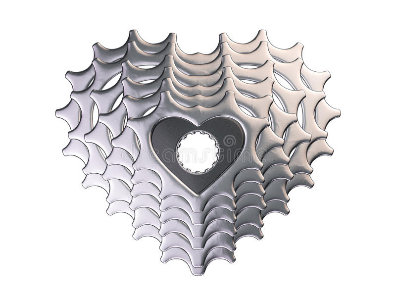 Love my bike cassette in heart shape royalty free illustration