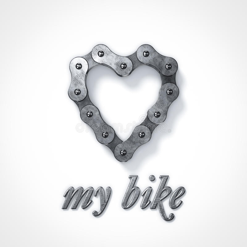 Love my bike heart chain royalty free illustration