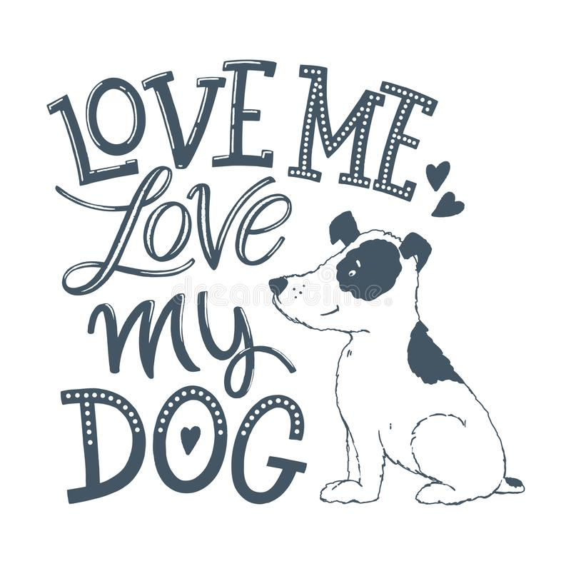 Love my dog lettering 02 vector illustration