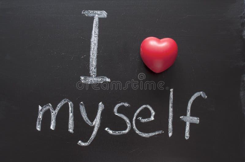 Love myself. I love myself phrase handwritten on the school blackboard royalty free stock photos