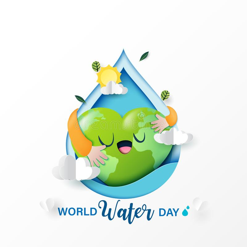 Love nature and save water for ecology and environment conservation concept design. World water day.Paper art of love nature and save water for ecology and stock illustration