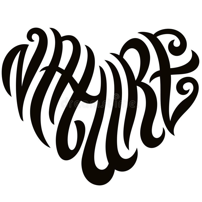 Love Nature Word Lettering In The Shape Of Heart Emblem stock photography