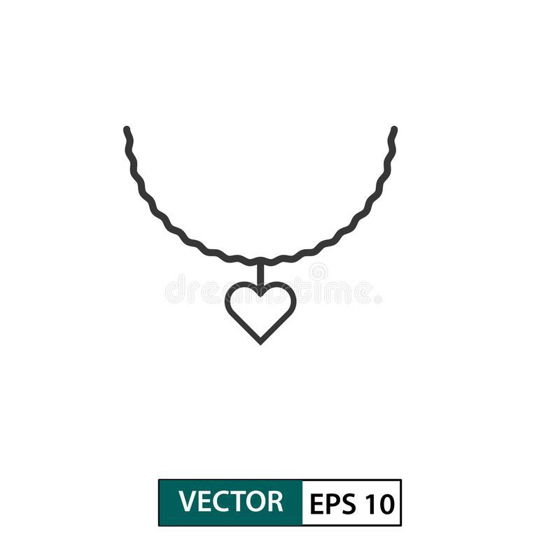 Love necklace icon. Outline style. Isolated on white background. Vector illustration EPS 10 royalty free illustration
